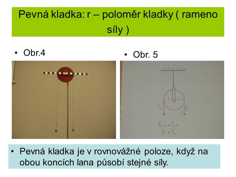 Pevná kladka: r – poloměr kladky ( rameno síly ) Pevná kladka je v rovnovážné poloze, když na obou koncích lana působí stejné síly. Obr.4 Obr. 5