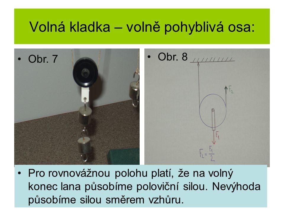 Volná kladka – volně pohyblivá osa: Pro rovnovážnou polohu platí, že na volný konec lana působíme poloviční silou.