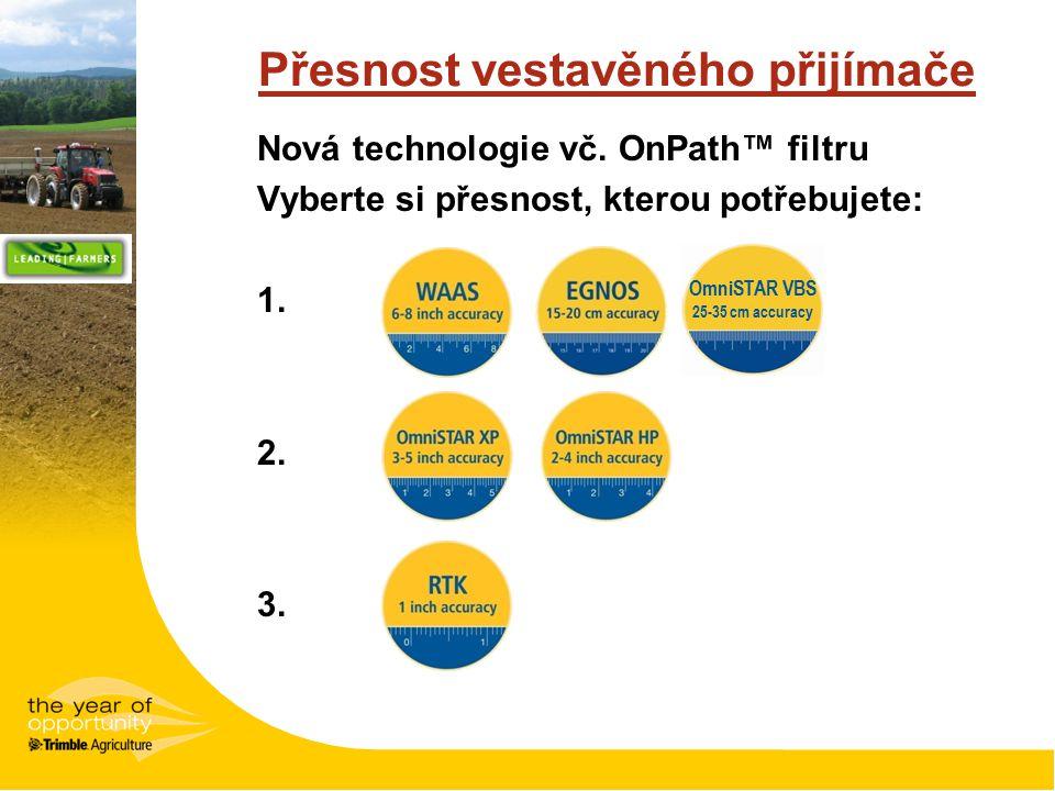 Přesnost vestavěného přijímače Nová technologie vč. OnPath™ filtru Vyberte si přesnost, kterou potřebujete: 1. 2. 3. OmniSTAR VBS 25-35 cm accuracy