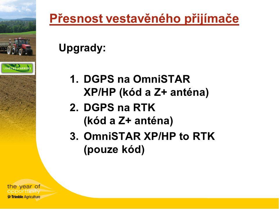 Přesnost vestavěného přijímače Upgrady: 1.DGPS na OmniSTAR XP/HP (kód a Z+ anténa) 2.DGPS na RTK (kód a Z+ anténa) 3.OmniSTAR XP/HP to RTK (pouze kód)