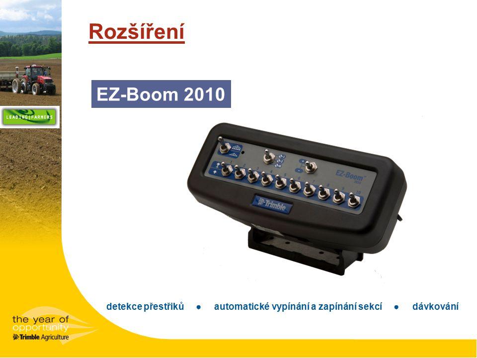 Rozšíření detekce přestřiků ● automatické vypínání a zapínání sekcí ● dávkování EZ-Boom 2010