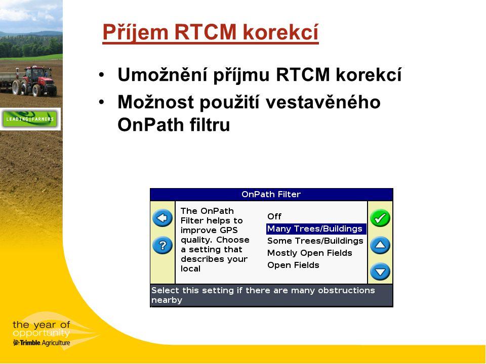 Příjem RTCM korekcí Umožnění příjmu RTCM korekcí Možnost použití vestavěného OnPath filtru