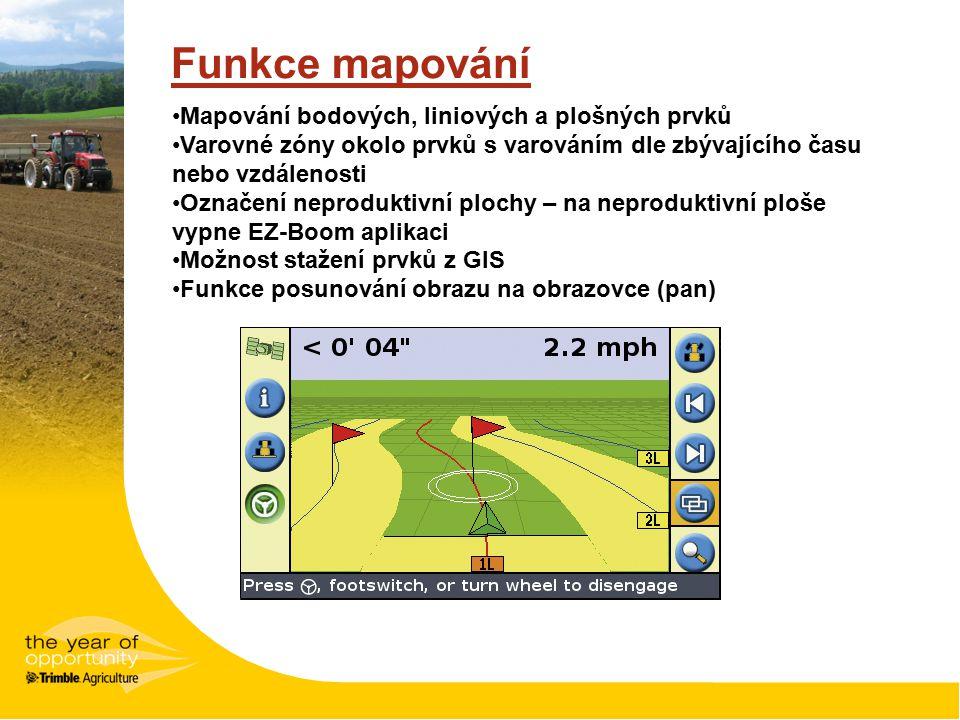 Funkce mapování Mapování bodových, liniových a plošných prvků Varovné zóny okolo prvků s varováním dle zbývajícího času nebo vzdálenosti Označení neproduktivní plochy – na neproduktivní ploše vypne EZ-Boom aplikaci Možnost stažení prvků z GIS Funkce posunování obrazu na obrazovce (pan)