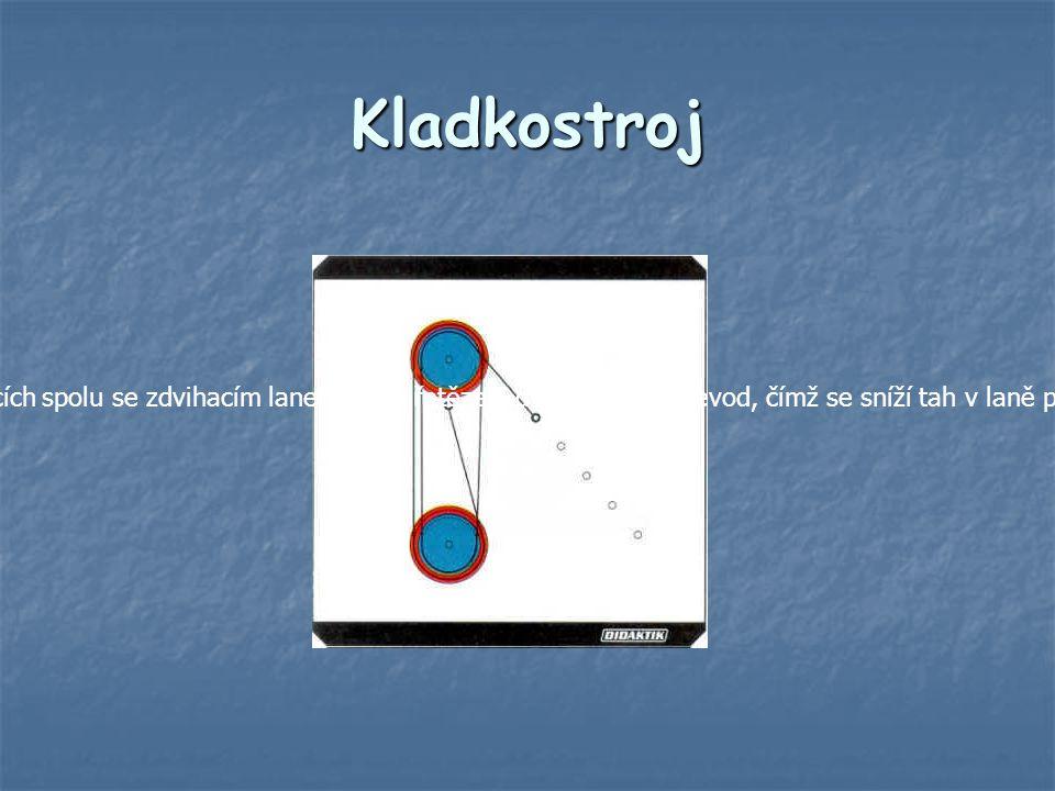 Kladkostroj Kladkostroj je jednoduchý stroj, který vznikne spojením pevné kladky a volné kladky, příp.