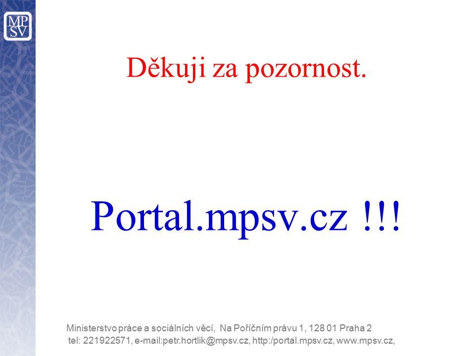 tel: 221922571, e-mail:petr.hortlik@mpsv.cz, http:/portal.mpsv.cz, www.mpsv.cz, Ministerstvo práce a sociálních věcí, Na Poříčním právu 1, 128 01 Praha 2 Děkuji za pozornost.