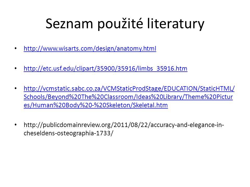 Seznam použité literatury http://www.wisarts.com/design/anatomy.html http://etc.usf.edu/clipart/35900/35916/limbs_35916.htm http://vcmstatic.sabc.co.z