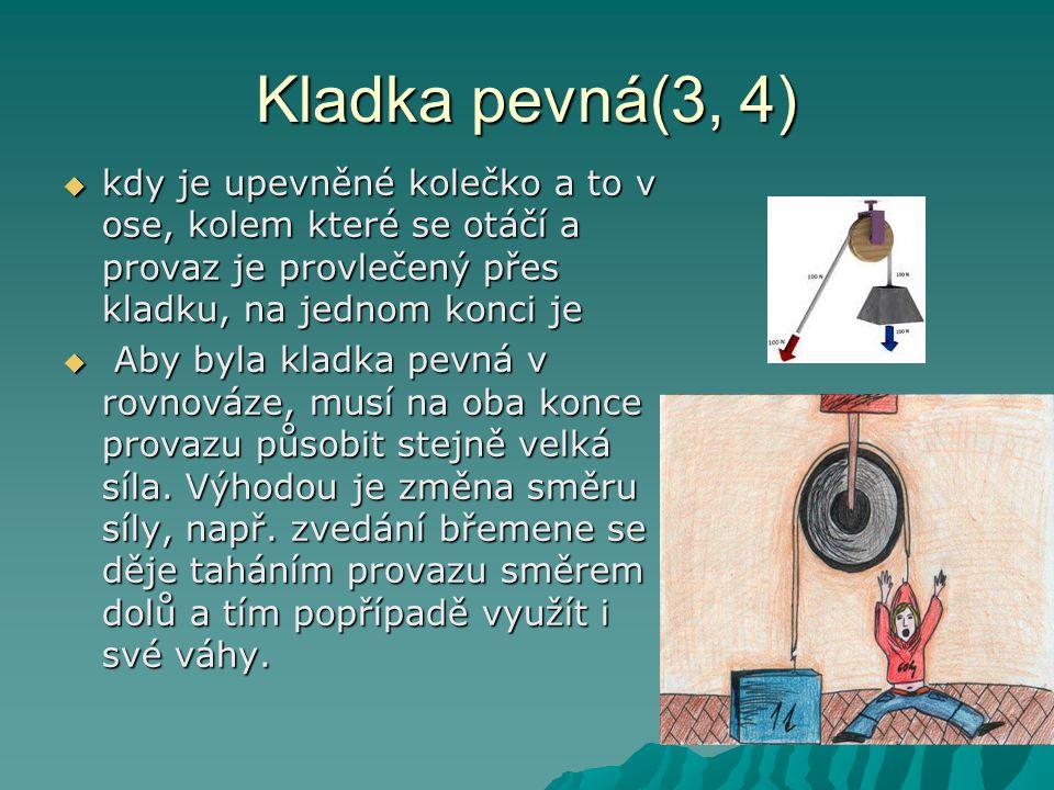 Volná kladka(5) Volná kladka je druh kladky, kdy je upevněný jeden konec provazu, na provaze se pohybuje kolečko na jehož ose je zavěšeno těleso ( břemeno ), na druhý konec provazu působí síla člověka nebo stroje.