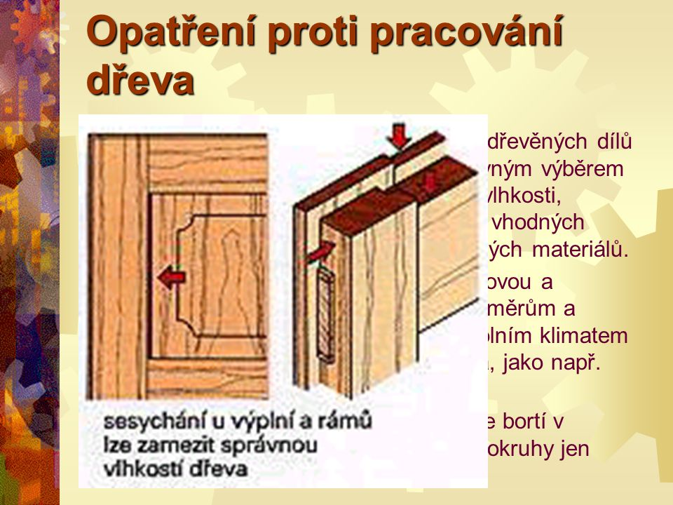 Pracování dřeva PPříklad pro výpočet sesychání : JJádrové prkno z bukového dřeva o šířce 280 mm a 40% vlhkosti vzduchu schne na 8%. Jak široké bud
