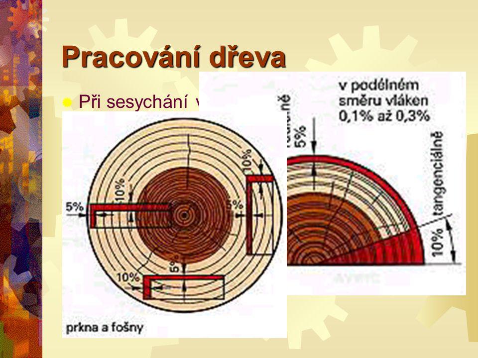 Pracování dřeva PPři sesychání ve směru vláken : ((podélném) činí smršťování celkem 0 00 0,1% až 0,3%, vve směru dřeňových paprsků (radiálně) asi 5 55 5% a vve směru letokruhů (tangenciálně) okolo 1 11 10%.