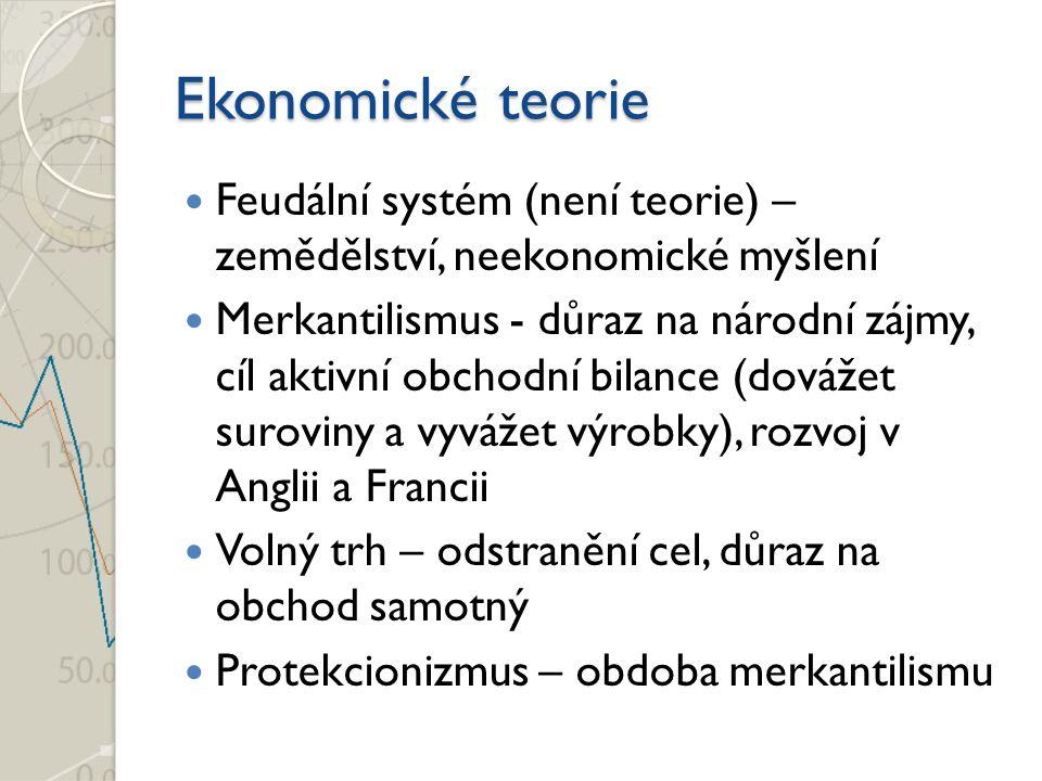 Ekonomické teorie Feudální systém (není teorie) – zemědělství, neekonomické myšlení Merkantilismus - důraz na národní zájmy, cíl aktivní obchodní bila