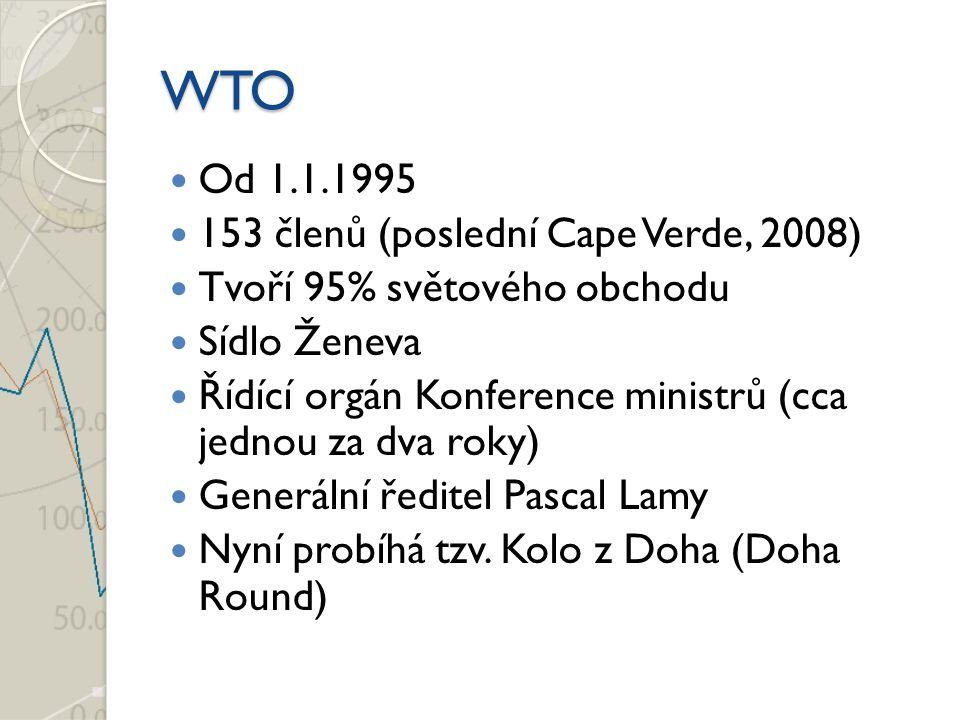 WTO Od 1.1.1995 153 členů (poslední Cape Verde, 2008) Tvoří 95% světového obchodu Sídlo Ženeva Řídící orgán Konference ministrů (cca jednou za dva roky) Generální ředitel Pascal Lamy Nyní probíhá tzv.