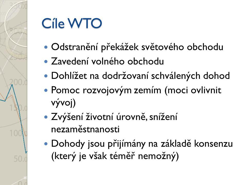 Cíle WTO Odstranění překážek světového obchodu Zavedení volného obchodu Dohlížet na dodržovaní schválených dohod Pomoc rozvojovým zemím (moci ovlivnit vývoj) Zvýšení životní úrovně, snížení nezaměstnanosti Dohody jsou přijímány na základě konsenzu (který je však téměř nemožný)