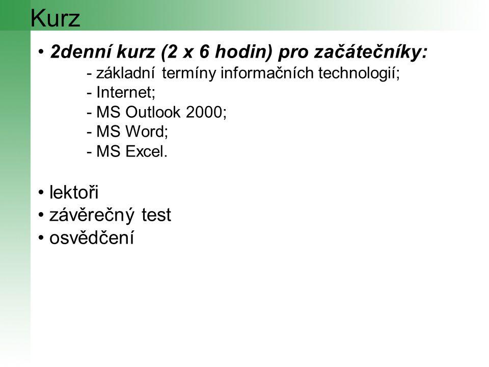 Kurz 2denní kurz (2 x 6 hodin) pro začátečníky: - základní termíny informačních technologií; - Internet; - MS Outlook 2000; - MS Word; - MS Excel.