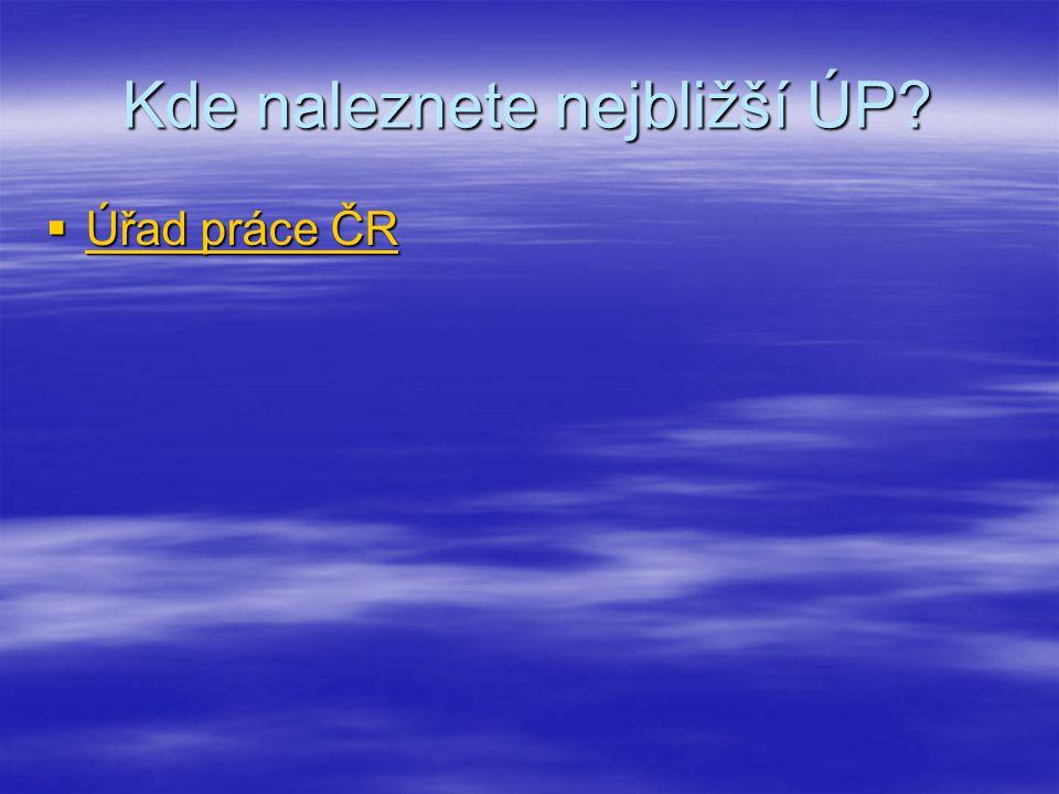 Kde naleznete nejbližší ÚP?  Úřad práce ČR Úřad práce ČR Úřad práce ČR