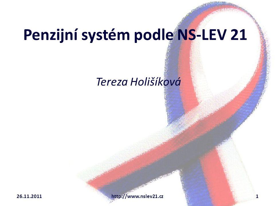 Penzijní systém podle NS-LEV 21 Tereza Holišíková 26.11.2011http://www.nslev21.cz1