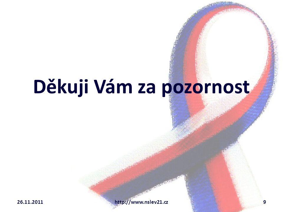 Děkuji Vám za pozornost 26.11.20119http://www.nslev21.cz