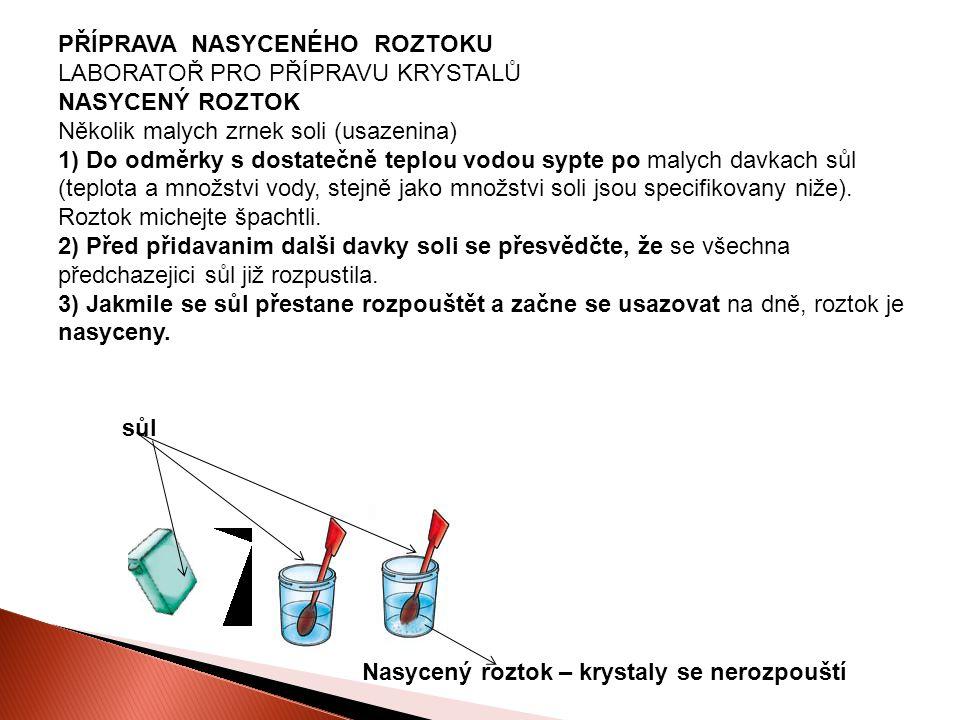 PŘÍPRAVA NASYCENÉHO ROZTOKU LABORATOŘ PRO PŘÍPRAVU KRYSTALŮ NASYCENÝ ROZTOK Několik malych zrnek soli (usazenina) 1) Do odměrky s dostatečně teplou vodou sypte po malych davkach sůl (teplota a množstvi vody, stejně jako množstvi soli jsou specifikovany niže).