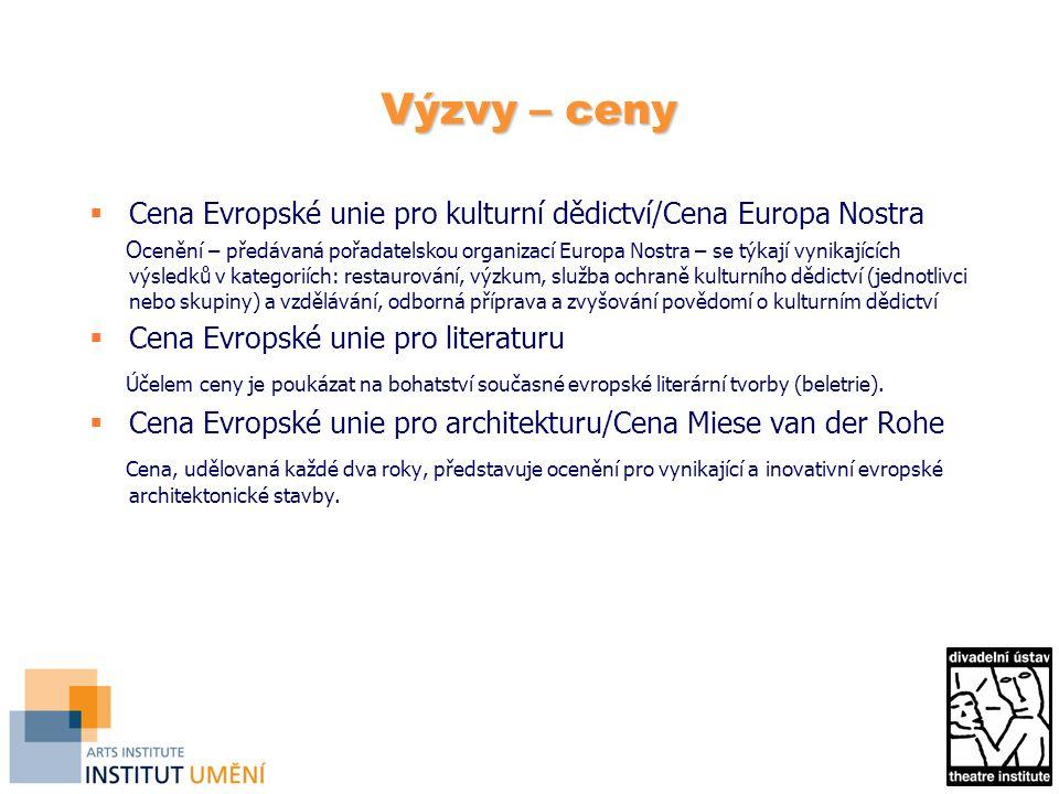 Výzvy – ceny  Cena Evropské unie pro kulturní dědictví/Cena Europa Nostra O cenění – předávaná pořadatelskou organizací Europa Nostra – se týkají vynikajících výsledků v kategoriích: restaurování, výzkum, služba ochraně kulturního dědictví (jednotlivci nebo skupiny) a vzdělávání, odborná příprava a zvyšování povědomí o kulturním dědictví  Cena Evropské unie pro literaturu Účelem ceny je poukázat na bohatství současné evropské literární tvorby (beletrie).