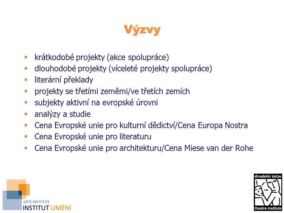Výzvy  krátkodobé projekty (akce spolupráce)  dlouhodobé projekty (víceleté projekty spolupráce)  literární překlady  projekty se třetími zeměmi/ve třetích zemích  subjekty aktivní na evropské úrovni  analýzy a studie  Cena Evropské unie pro kulturní dědictví/Cena Europa Nostra  Cena Evropské unie pro literaturu  Cena Evropské unie pro architekturu/Cena Miese van der Rohe