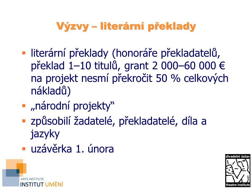 Výzvy – literární překlady  literární překlady (honoráře překladatelů, překlad 1–10 titulů, grant 2 000–60 000 € na projekt nesmí překročit 50 % celk