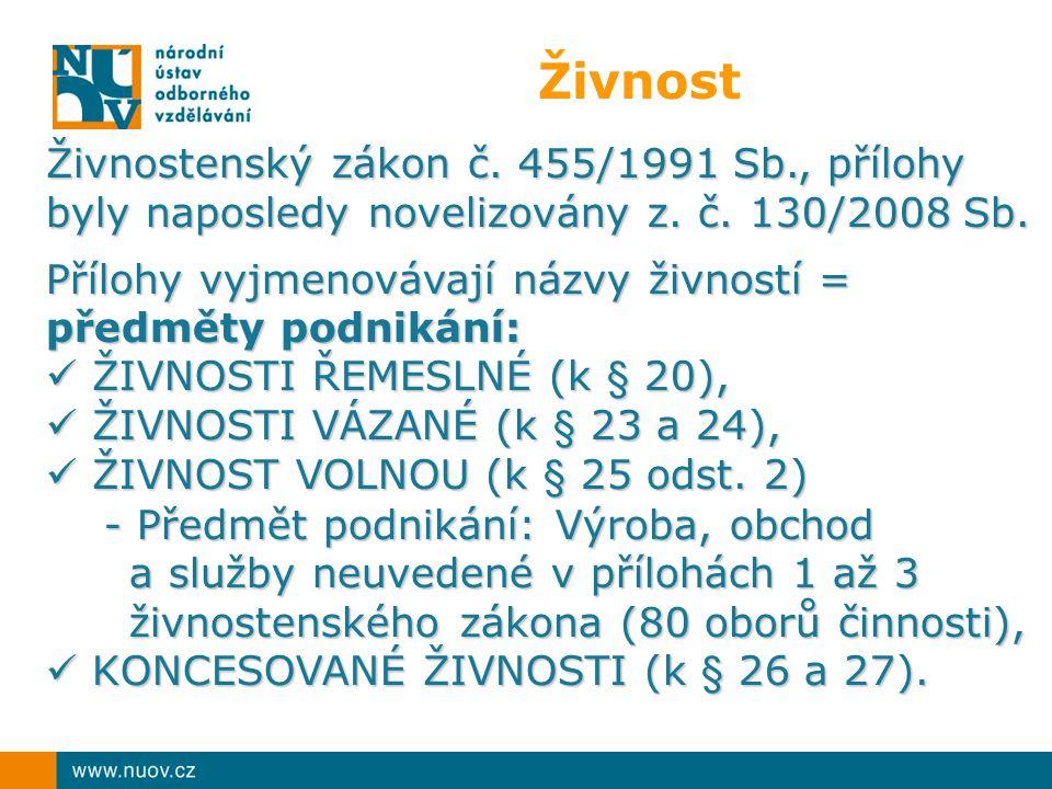 Živnost Živnostenský zákon č. 455/1991 Sb., přílohy byly naposledy novelizovány z.