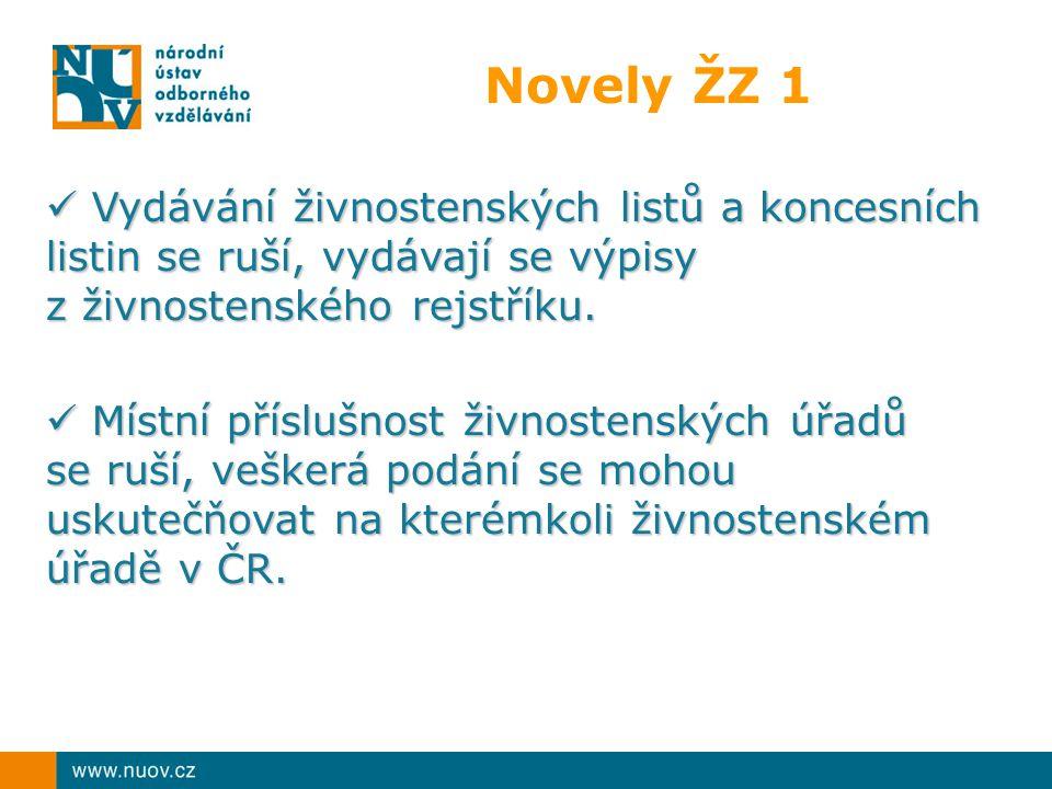 Novely ŽZ 1 Vydávání živnostenských listů a koncesních listin se ruší, vydávají se výpisy Vydávání živnostenských listů a koncesních listin se ruší, vydávají se výpisy z živnostenského rejstříku.