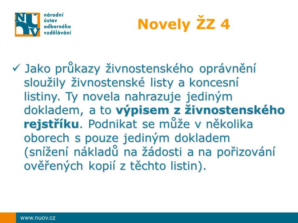 Novely ŽZ 4 Jako průkazy živnostenského oprávnění sloužily živnostenské listy a koncesní listiny. Ty novela nahrazuje jediným dokladem, a to výpisem z