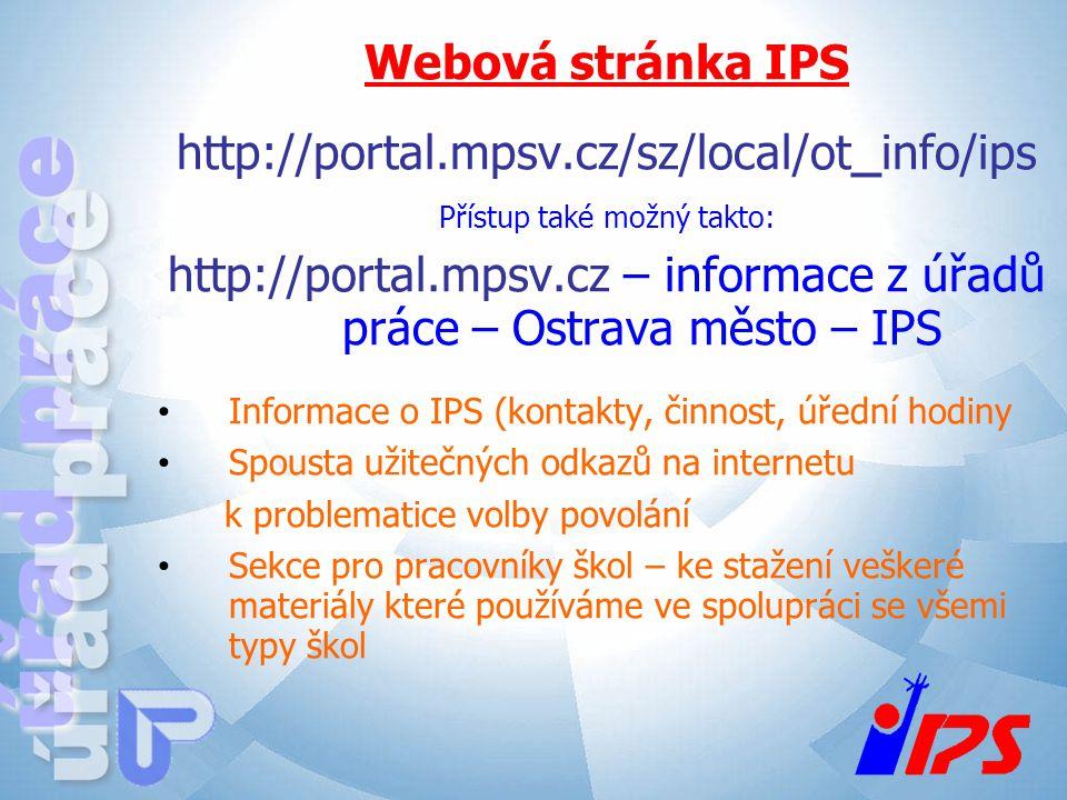Webová stránka IPS http://portal.mpsv.cz/sz/local/ot_info/ips Přístup také možný takto: http://portal.mpsv.cz – informace z úřadů práce – Ostrava měst
