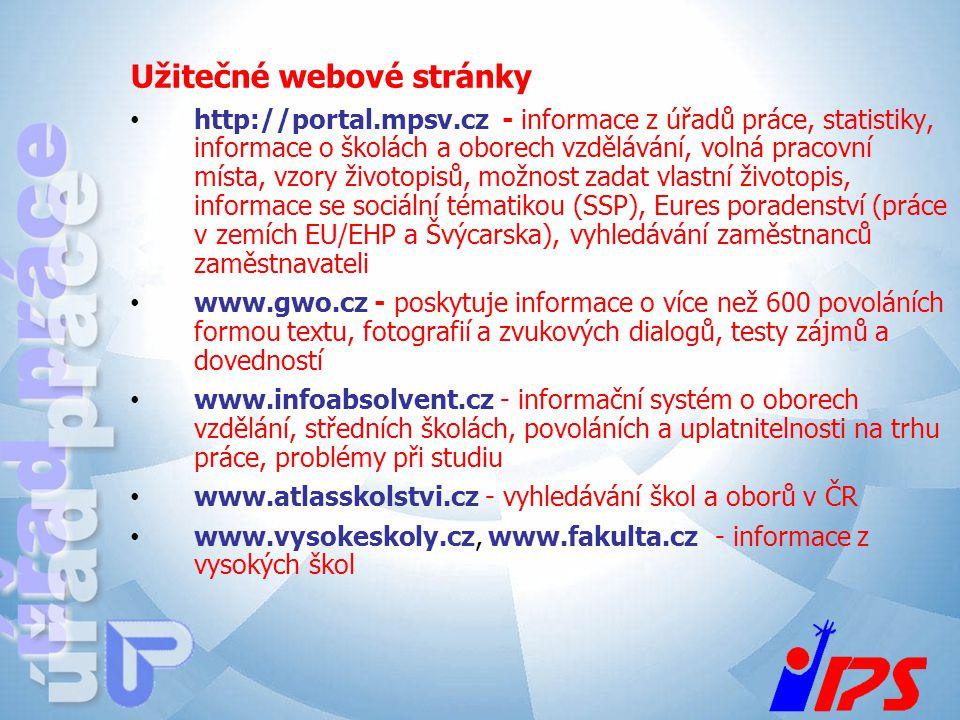 Užitečné webové stránky http://portal.mpsv.cz - informace z úřadů práce, statistiky, informace o školách a oborech vzdělávání, volná pracovní místa, v