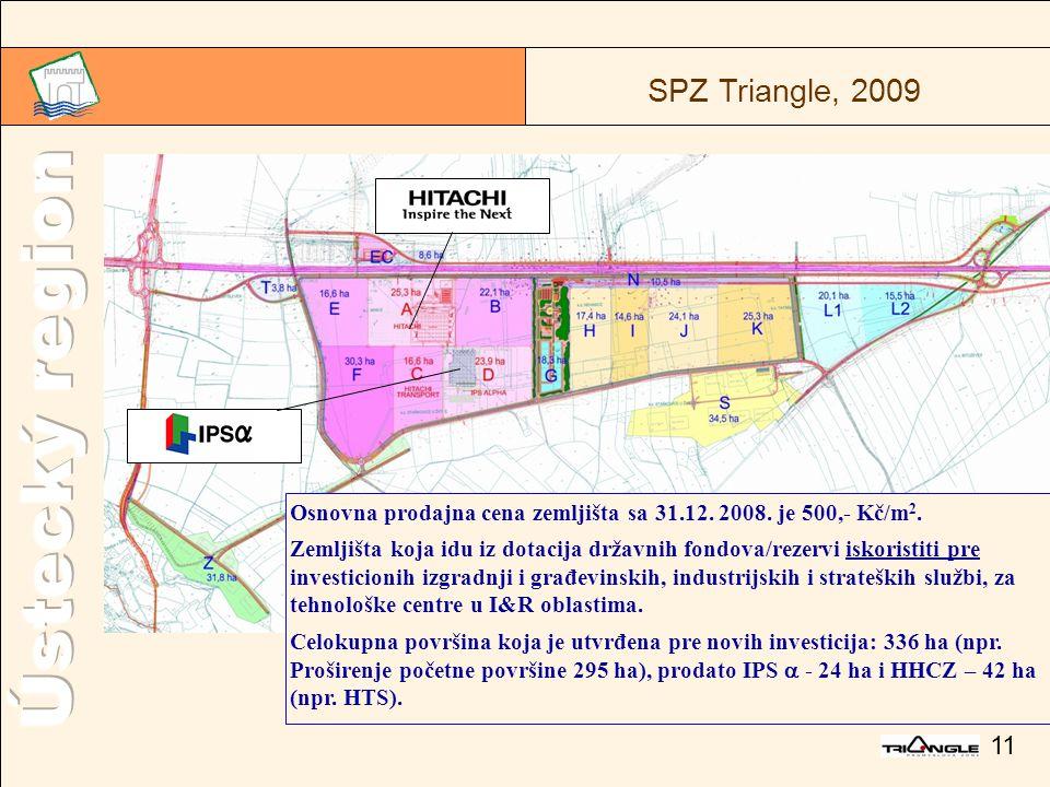 11 SPZ Triangle, 2009 Osnovna prodajna cena zemljišta sa 31.12.