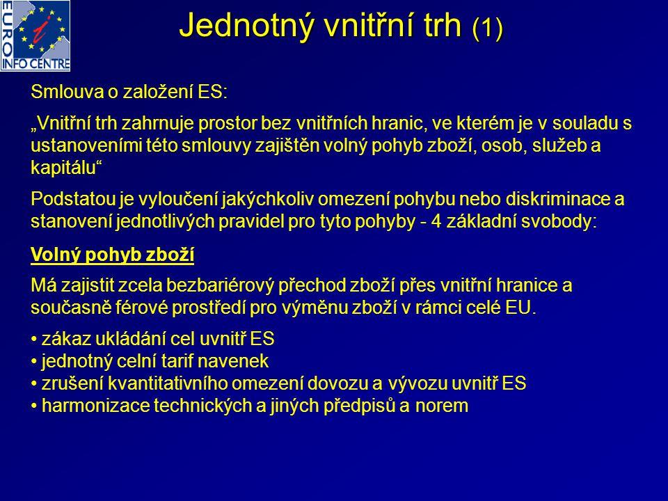 """Jednotný vnitřní trh (1) Smlouva o založení ES: """"Vnitřní trh zahrnuje prostor bez vnitřních hranic, ve kterém je v souladu s ustanoveními této smlouvy"""