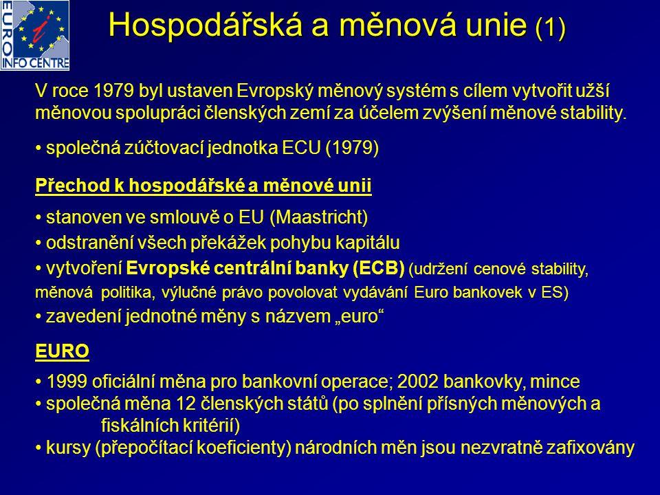 Hospodářská a měnová unie (1) V roce 1979 byl ustaven Evropský měnový systém s cílem vytvořit užší měnovou spolupráci členských zemí za účelem zvýšení měnové stability.