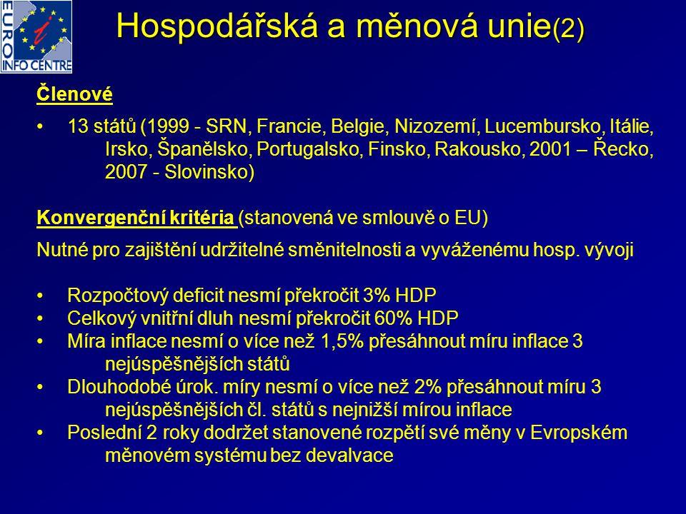 Hospodářská a měnová unie (2) Členové 13 států (1999 - SRN, Francie, Belgie, Nizozemí, Lucembursko, Itálie, Irsko, Španělsko, Portugalsko, Finsko, Rakousko, 2001 – Řecko, 2007 - Slovinsko) Konvergenční kritéria (stanovená ve smlouvě o EU) Nutné pro zajištění udržitelné směnitelnosti a vyváženému hosp.