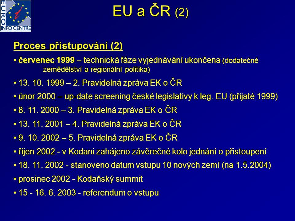 EU a ČR (2) Proces přistupování (2) červenec 1999 – technická fáze vyjednávání ukončena (dodatečně zemědělství a regionální politika) 13. 10. 1999 – 2