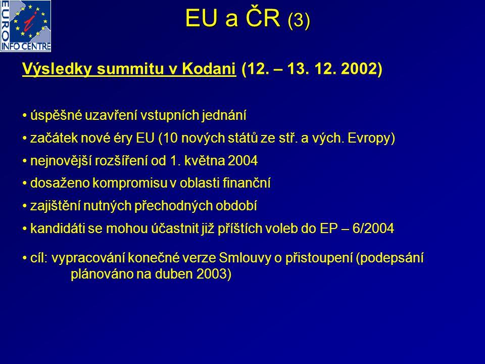 EU a ČR (3) Výsledky summitu v Kodani (12. – 13. 12. 2002) úspěšné uzavření vstupních jednání začátek nové éry EU (10 nových států ze stř. a vých. Evr