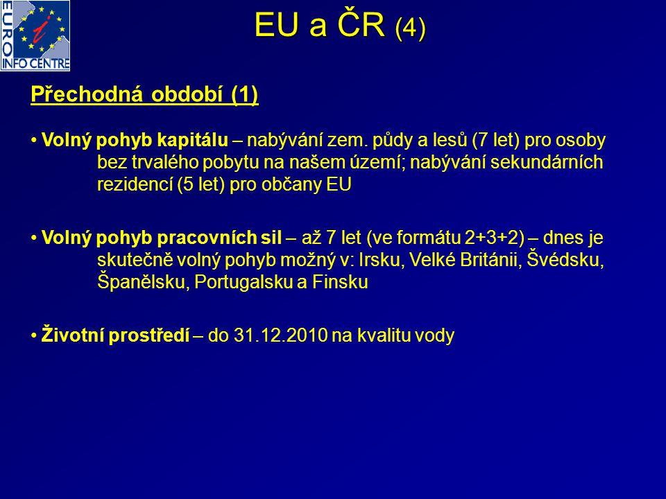 EU a ČR (4) Přechodná období (1) Volný pohyb kapitálu – nabývání zem. půdy a lesů (7 let) pro osoby bez trvalého pobytu na našem území; nabývání sekun