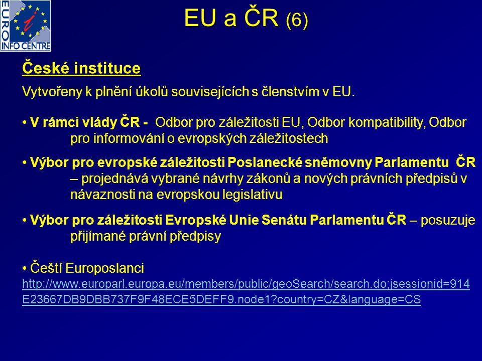 EU a ČR (6) České instituce Vytvořeny k plnění úkolů souvisejících s členstvím v EU. V rámci vlády ČR - Odbor pro záležitosti EU, Odbor kompatibility,