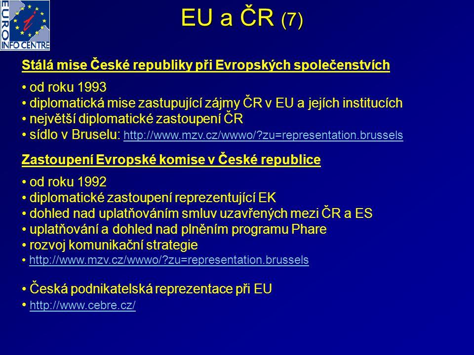 EU a ČR (7) Stálá mise České republiky při Evropských společenstvích od roku 1993 diplomatická mise zastupující zájmy ČR v EU a jejích institucích nej