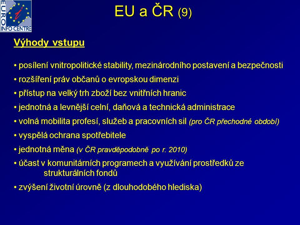 EU a ČR (9) Výhody vstupu posílení vnitropolitické stability, mezinárodního postavení a bezpečnosti rozšíření práv občanů o evropskou dimenzi přístup na velký trh zboží bez vnitřních hranic jednotná a levnější celní, daňová a technická administrace volná mobilita profesí, služeb a pracovních sil (pro ČR přechodné období) vyspělá ochrana spotřebitele jednotná měna (v ČR pravděpodobně po r.