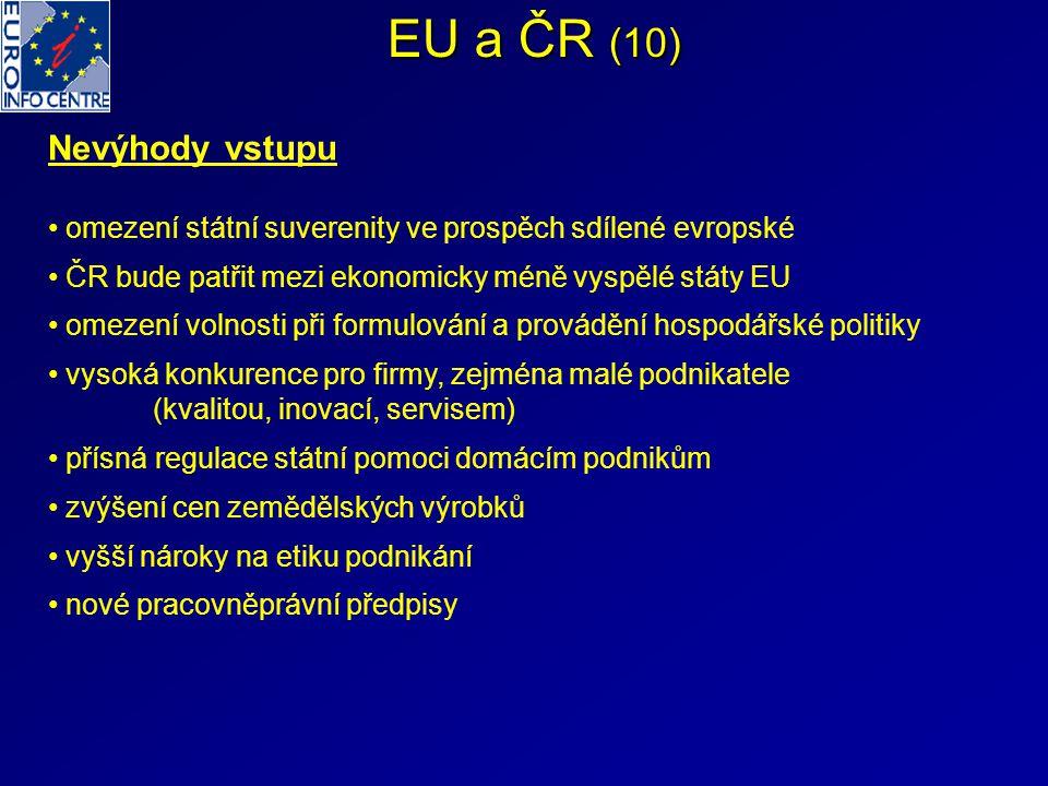 EU a ČR (10) Nevýhody vstupu omezení státní suverenity ve prospěch sdílené evropské ČR bude patřit mezi ekonomicky méně vyspělé státy EU omezení volno