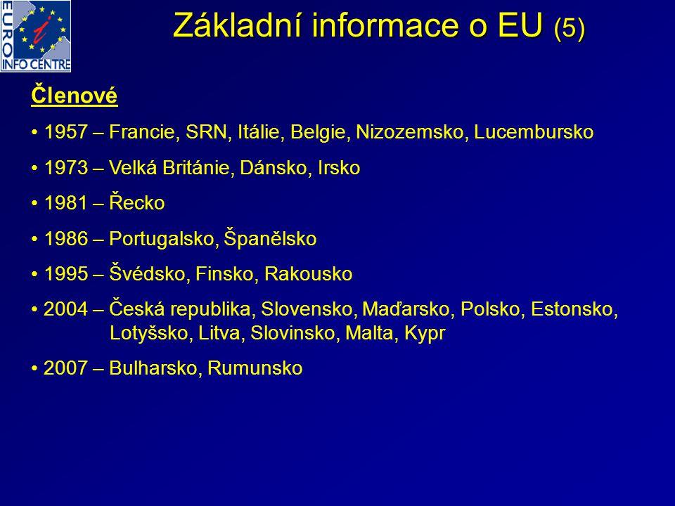 Základní informace o EU (5) Členové 1957 – Francie, SRN, Itálie, Belgie, Nizozemsko, Lucembursko 1973 – Velká Británie, Dánsko, Irsko 1981 – Řecko 198