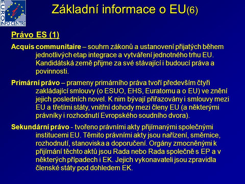 Základní informace o EU (6) Právo ES (1) Acquis communitaire – souhrn zákonů a ustanovení přijatých během jednotlivých etap integrace a vytváření jedn