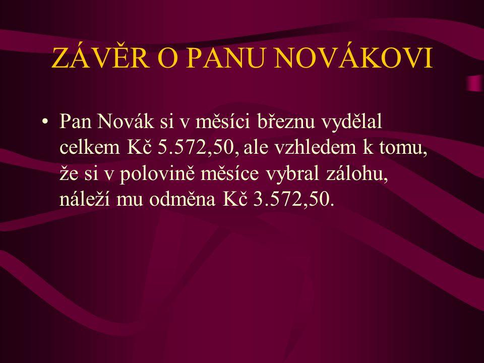Přehled o zaměstnanci panu JANU NOVÁKOVI - plat