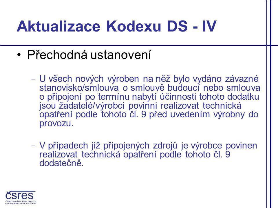 Aktualizace Kodexu DS - IV Přechodná ustanovení - U všech nových výroben na něž bylo vydáno závazné stanovisko/smlouva o smlouvě budoucí nebo smlouva o připojení po termínu nabytí účinnosti tohoto dodatku jsou žadatelé/výrobci povinni realizovat technická opatření podle tohoto čl.