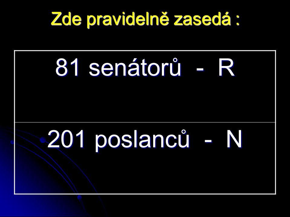 81 senátorů - R 201 poslanců - N Zde pravidelně zasedá :
