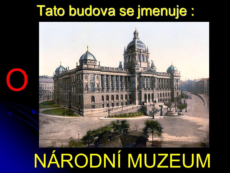 Tato budova se jmenuje : NÁRODNÍ MUZEUM O