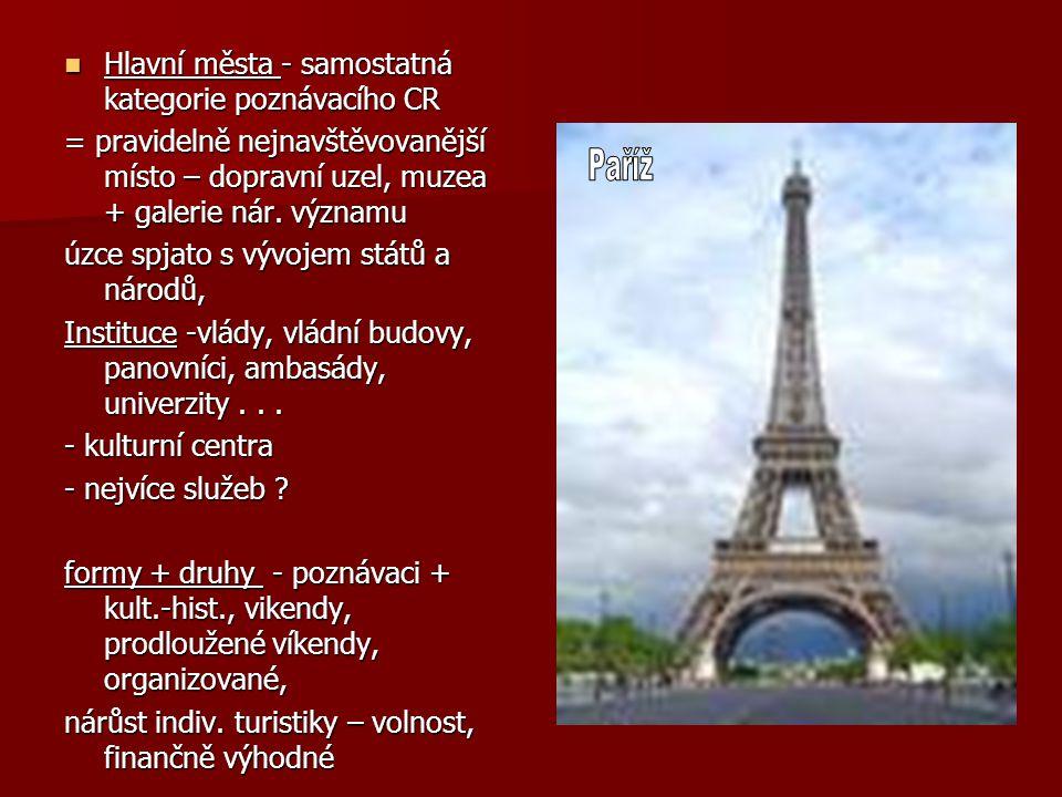 Hlavní města - samostatná kategorie poznávacího CR Hlavní města - samostatná kategorie poznávacího CR = pravidelně nejnavštěvovanější místo – dopravní