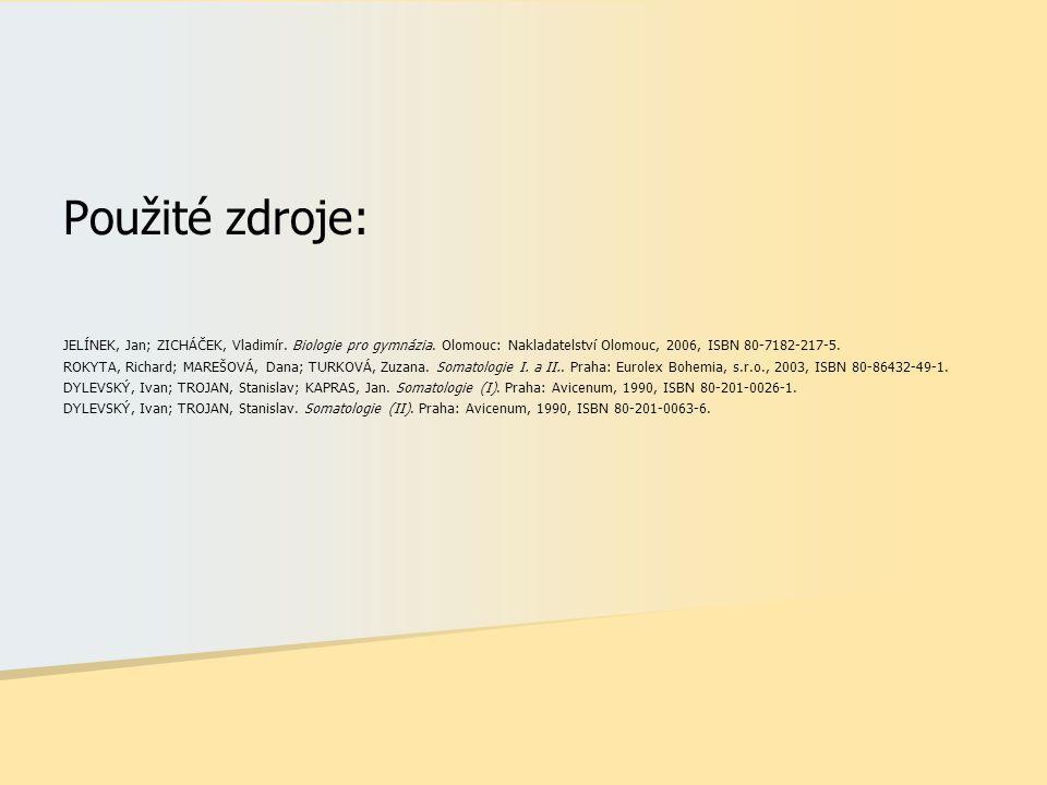 Použité zdroje: JELÍNEK, Jan; ZICHÁČEK, Vladimír. Biologie pro gymnázia. Olomouc: Nakladatelství Olomouc, 2006, ISBN 80-7182-217-5. ROKYTA, Richard; M