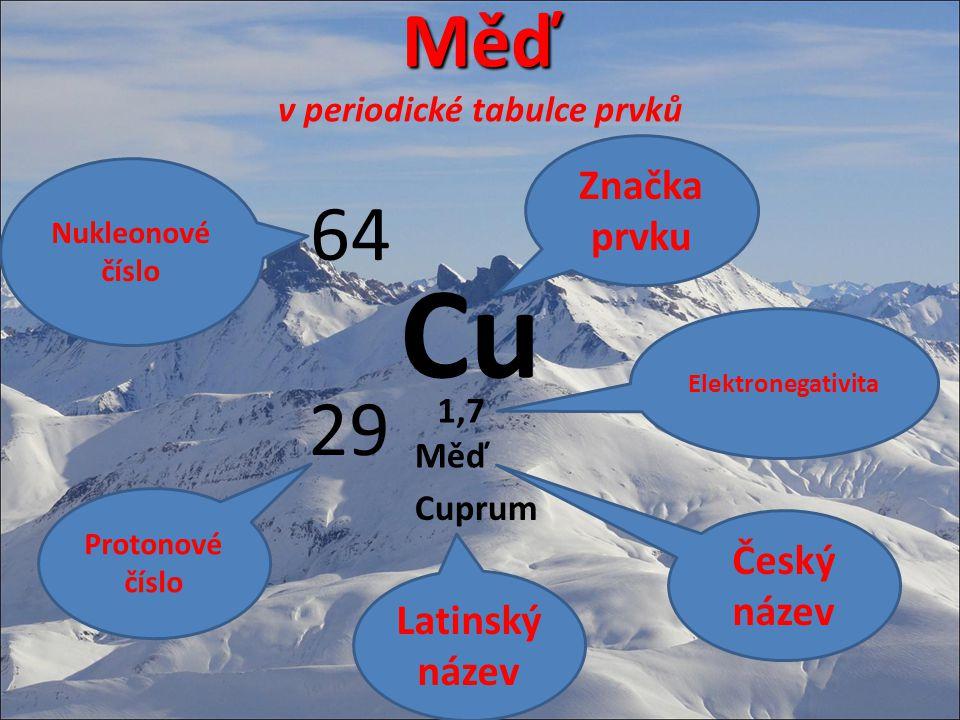 Měď Měď v periodické tabulce prvků Cu 64 29 Značka prvku Nukleonové číslo Protonové číslo Měď Cuprum 1,7 Český název Elektronegativita Latinský název