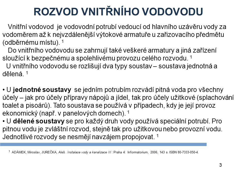 ROZVOD VNITŘNÍHO VODOVODU 3 1 ADÁMEK, Miroslav, JUREČKA, Aleš. Instalace vody a kanalizace III : Praha 4: Informatorium, 2006, 143 s. ISBN 80-7333-050